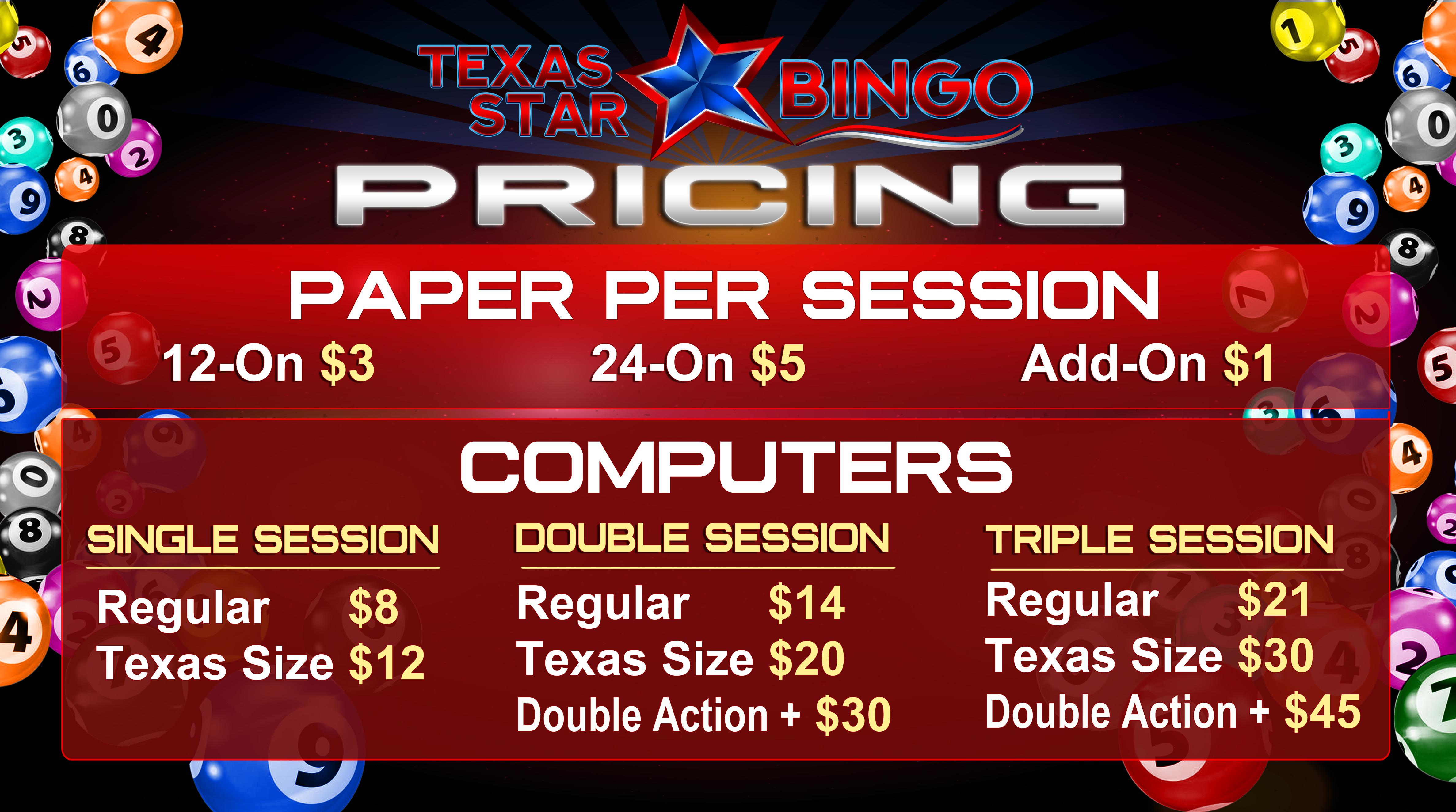 Texas Star Bingo PRICING DA